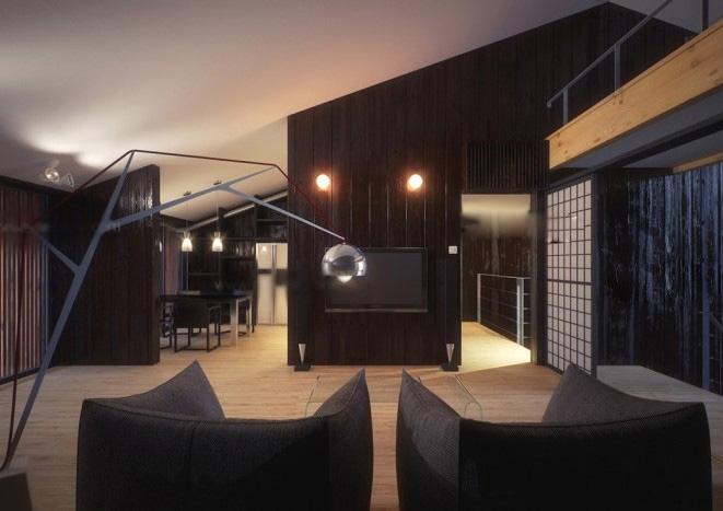 一室一厅日式风格客厅电视背景墙