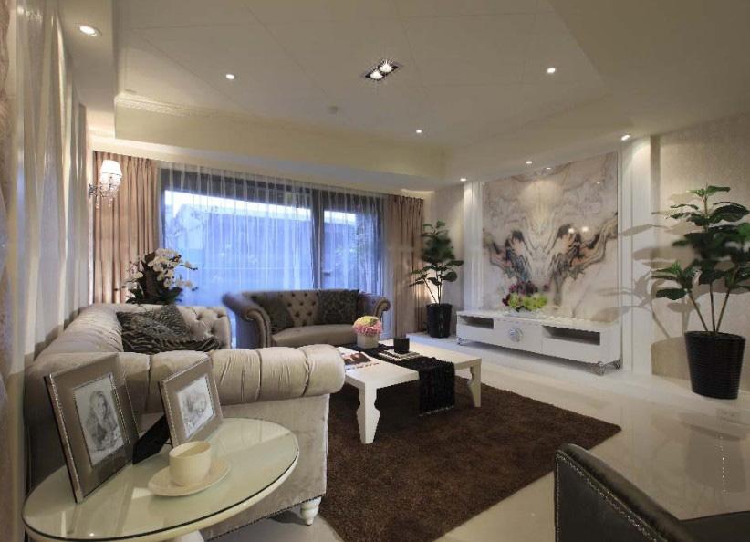 一室一厅新古典客厅电视背景墙