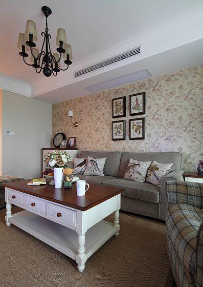 三室两厅美式风格客厅沙发背景墙