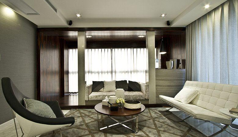 大户型现代简约客厅地台