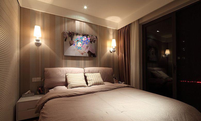 两室一厅美式风格主卧室卧室背景墙