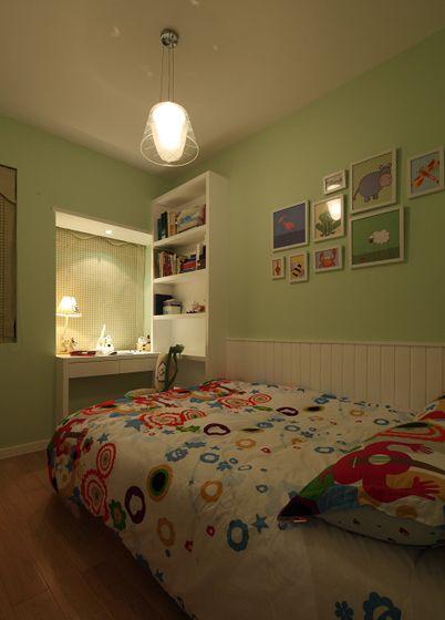 两室一厅美式风格儿童房卧室背景墙