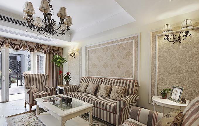 复式楼美式风格客厅沙发背景墙