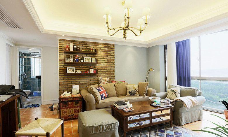小户型美式风格客厅沙发背景墙