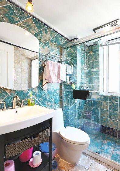 复古风的浴室装修效果图