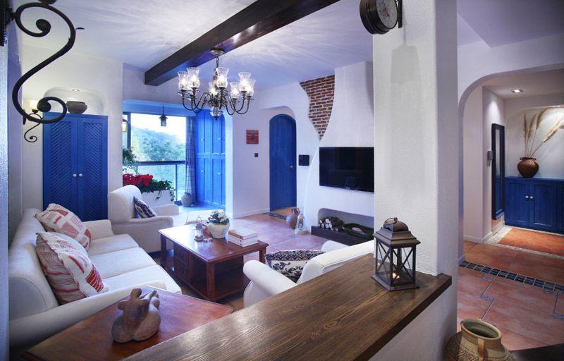 地中海蓝白客厅2装修效果图