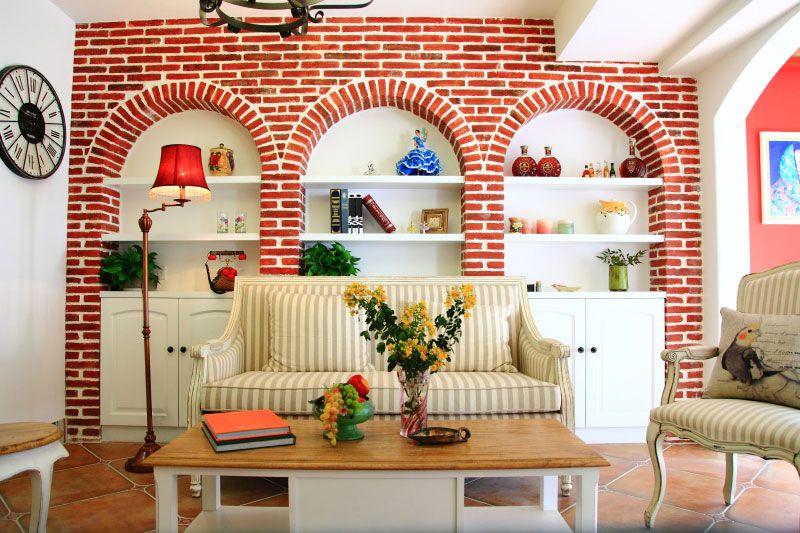 石库门乡村风格客厅沙发背景墙