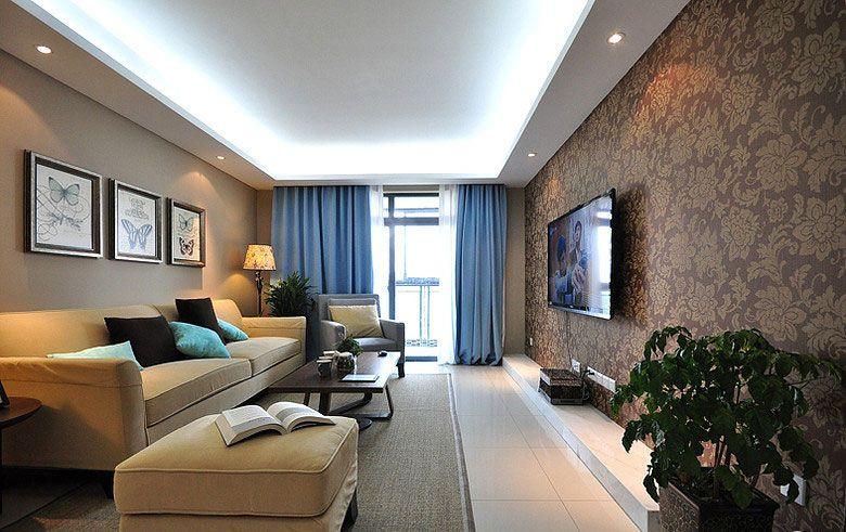 三室一厅现代风格客厅电视背景墙