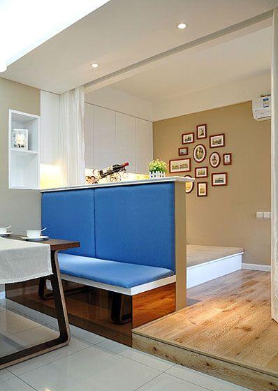 餐厅蓝色卡座装修效果图