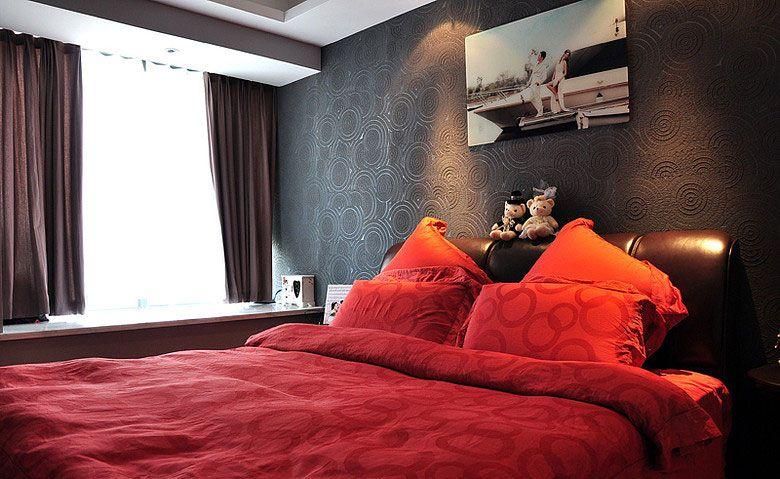 现代风格婚房卧室背景墙