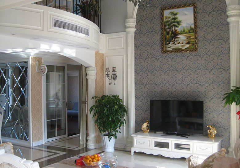 复式楼简欧风格客厅电视背景墙