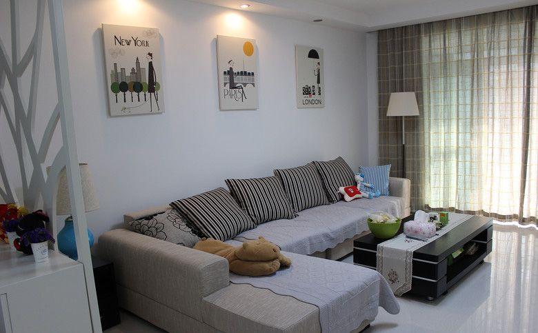 三室两厅简约风格客厅沙发背景墙