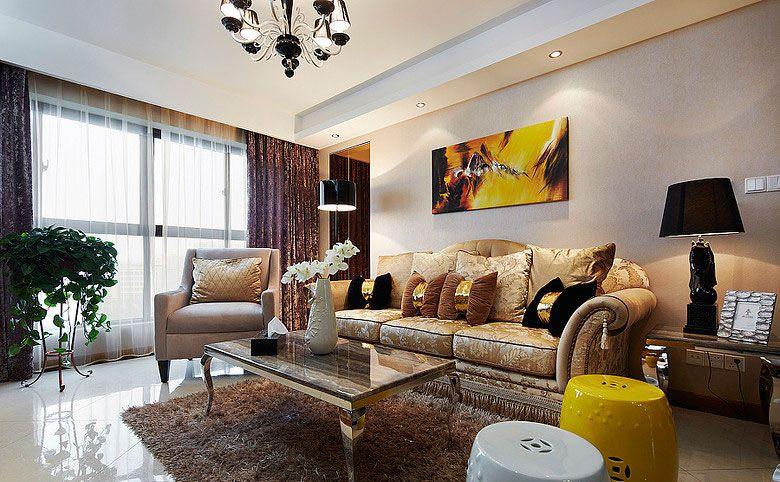两居室混搭风格客厅沙发背景墙