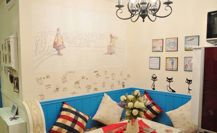 小户型地中海风格餐厅墙绘