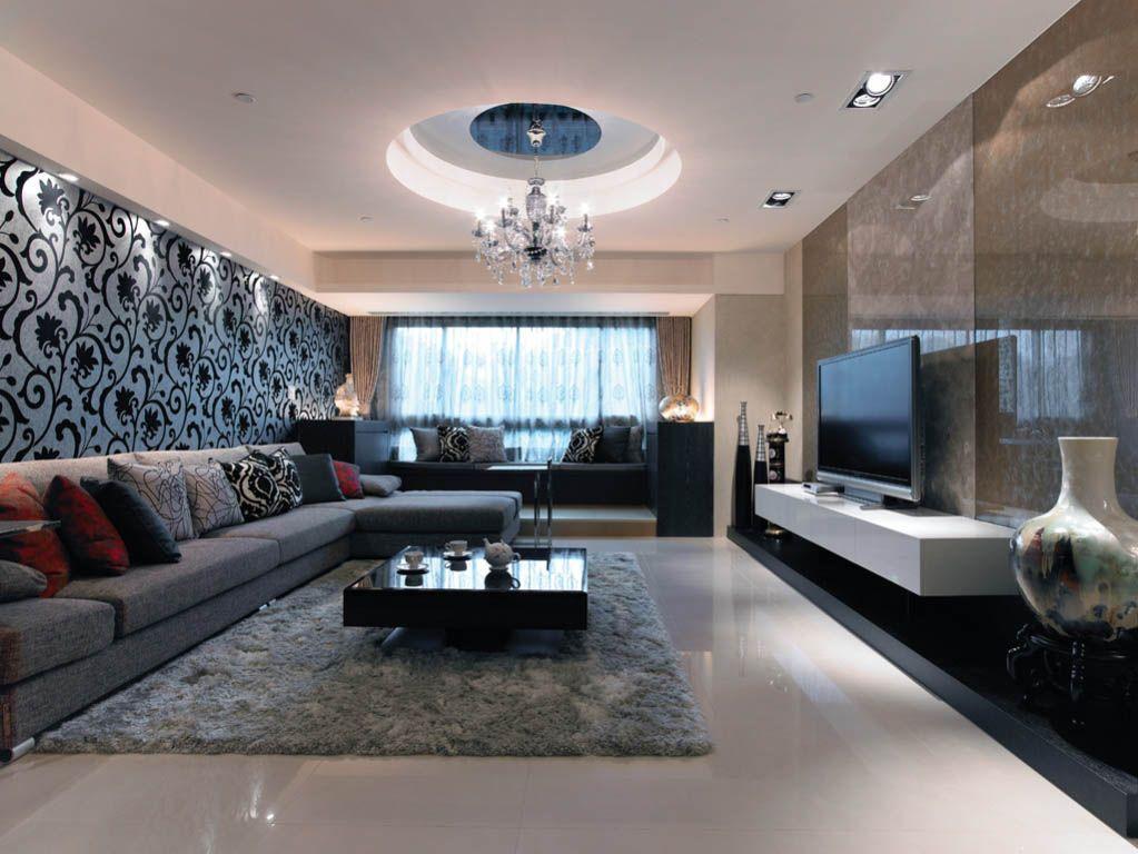 白领公寓简欧风格客厅圆形吊顶