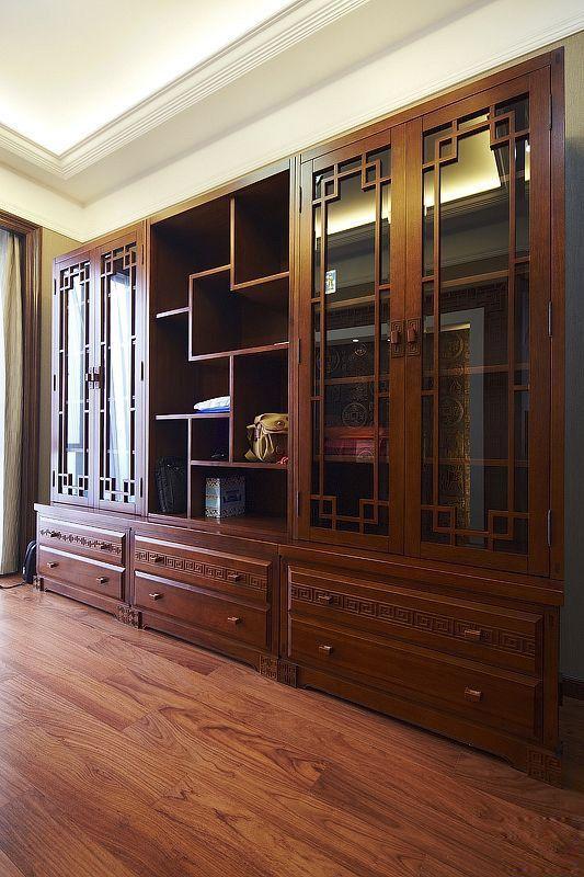 中式实木书柜墙装修效果图