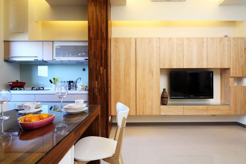 自然风的木质电视墙_装修效果图-x团装修网