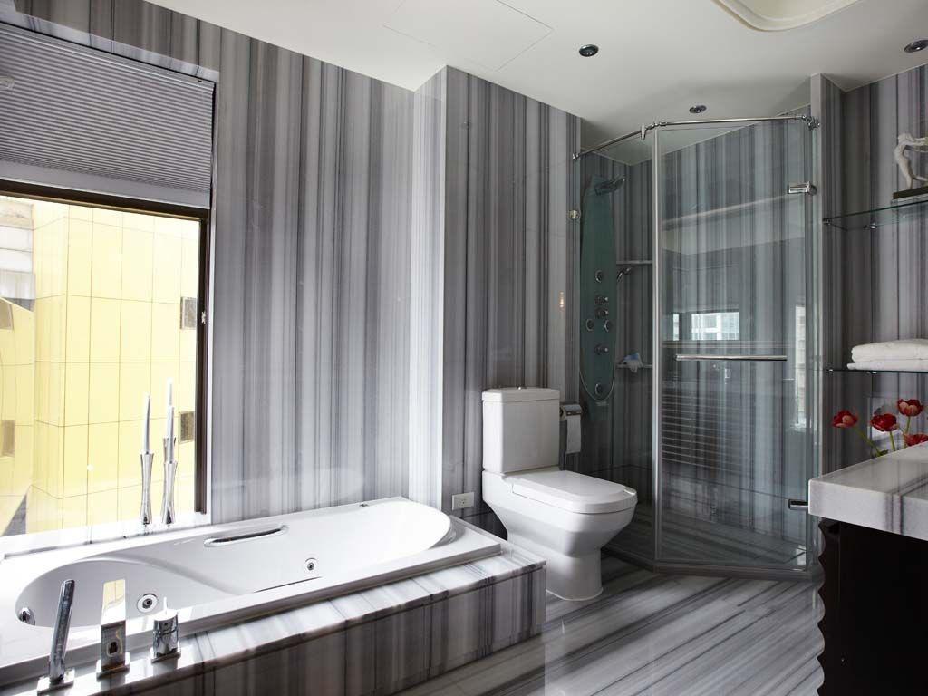 拉线纹理卫浴空间装修效果图