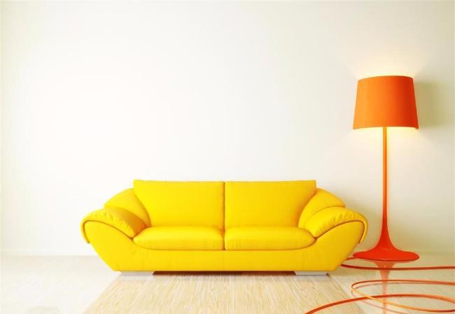 单身公寓橙色落地灯装修效果图