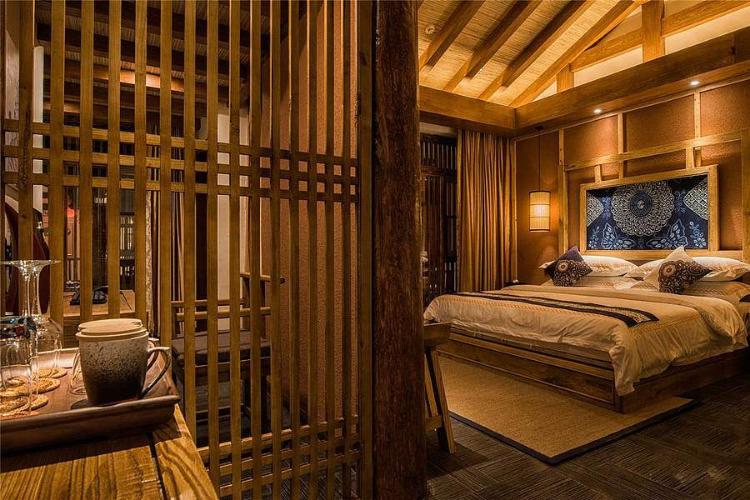 木结构客栈民宿客房装修效果图图片